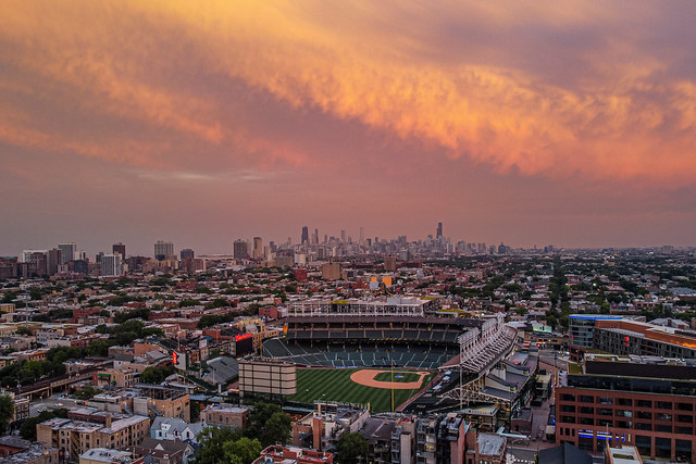 Sunset over Chicago's Wrigley Field, home of the Cubs