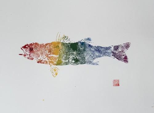 Sea Bass 030 | £62 inc p&p UK | 2020 | 51x38cm |Japanese Paper on Hahnemuele Britannia Watercolour Paper