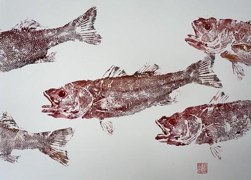 Sea Bass 032 | £62 inc p&p UK | 2020 | 51x38cm |Japanese Paper on Hahnemuele Britannia Watercolour Paper