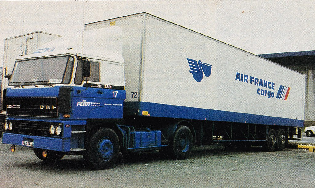 Postcard DAF 2800 Transports Feidt Air France Cargo Collection Camions Magazine 1988a