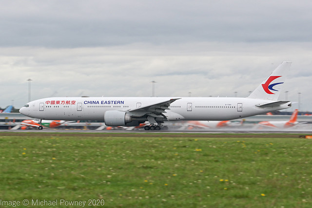 B-7369 - 2016 build Boeing B777-39PER, rolling for departure on Runway 23R at Manchester