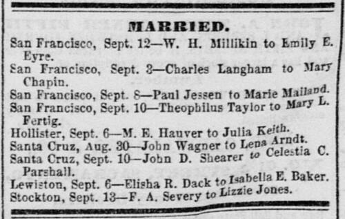 Hawver-Keith Marriage - Sacramento Daily Union 15 Sept 1874