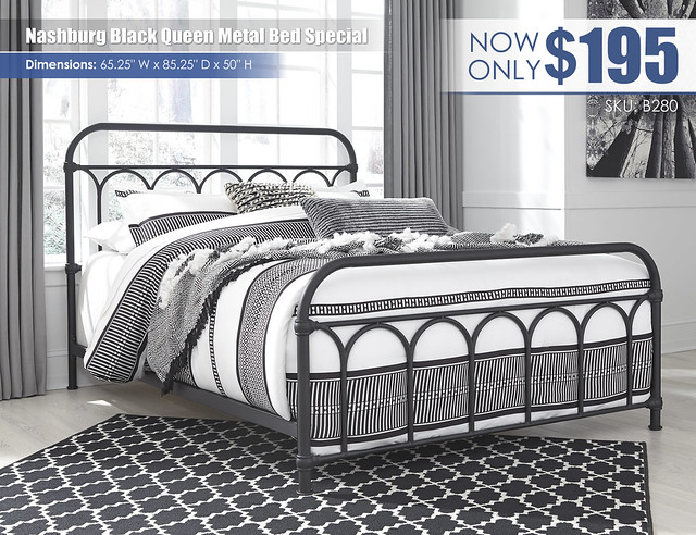 Nashburg Black Queen Metal Bed Special_B280-681