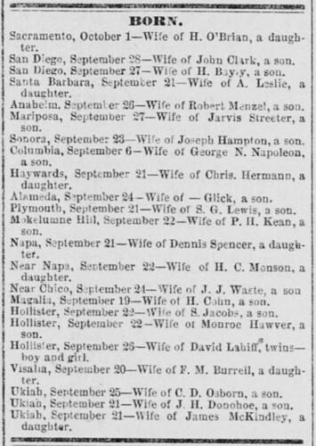 Benjamin Hawver Birth - Sacramento Daily Union 3 Oct 1877