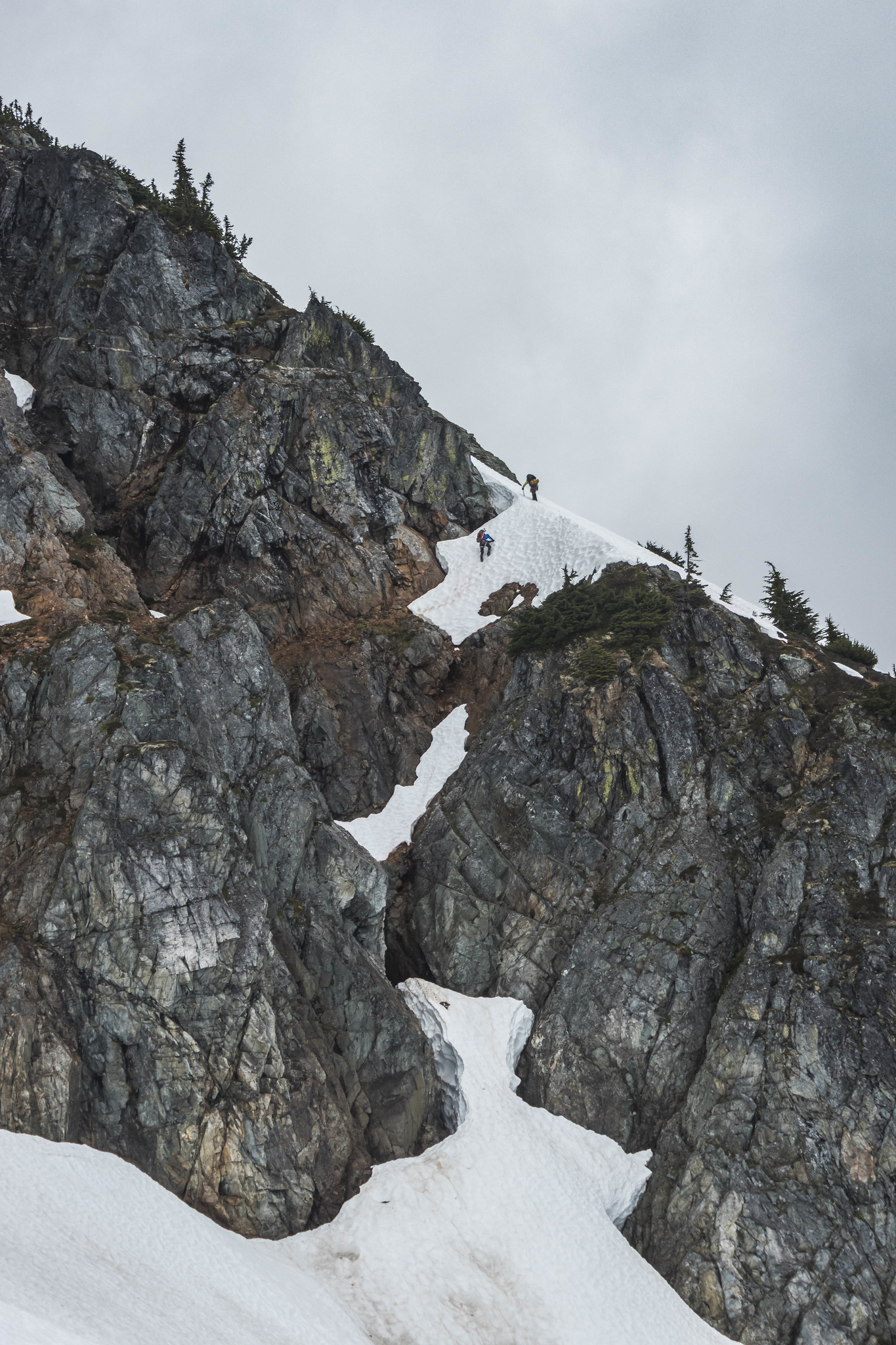 Climbers exiting the Red Ledge