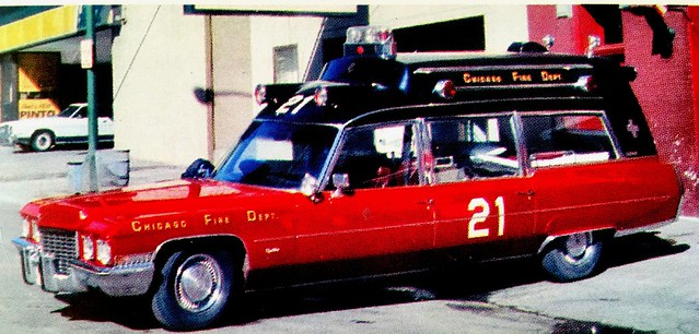 The most common and was used in the 1950s and 60s, when I was growing up were the Cadillac ambulances used by Chicago.