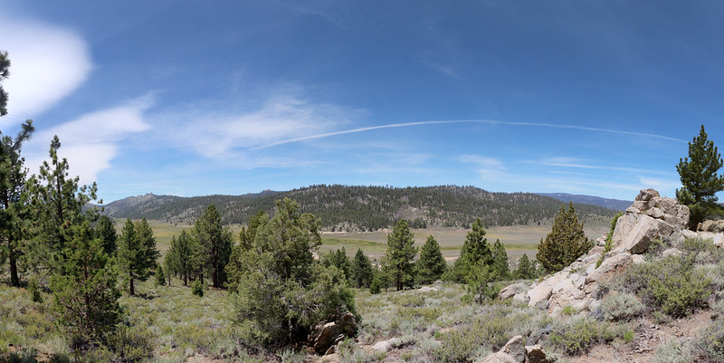 Panorama view of Beck Meadow from the north ridge of Deer Mountain on the PCT