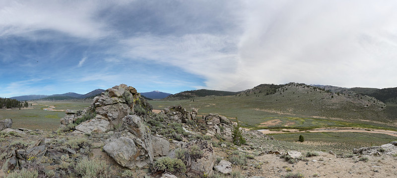 Panorama shot looking north over Monache Meadow and the South Fork Kern River from the PCT