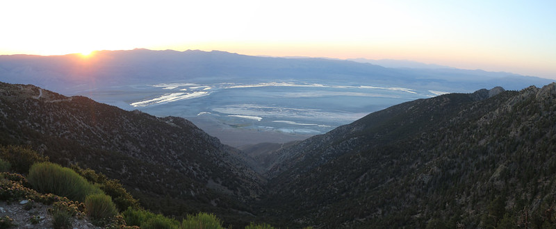 Time to head back home - dawn is breaking over the Owens Valley from high up on Horseshoe Meadows Road