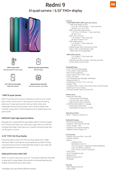 Specifications for the new Redmi 9 from Xiaomi.