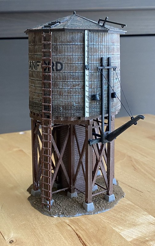 Painted and weathered Atlas water tower