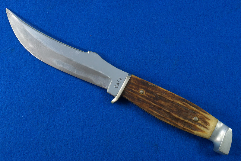 RD30609 Vintage CASE Hunting Knife Stag Handle in Leather & Brass Sheath DSC09072