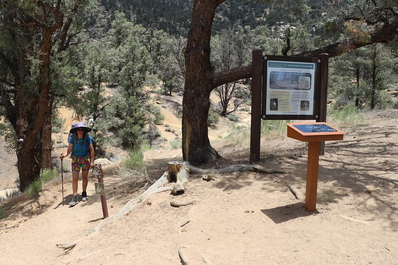 The Pacific Crest Trail trailhead sign and register box at Kennedy Meadows Campground, PCT mile 705