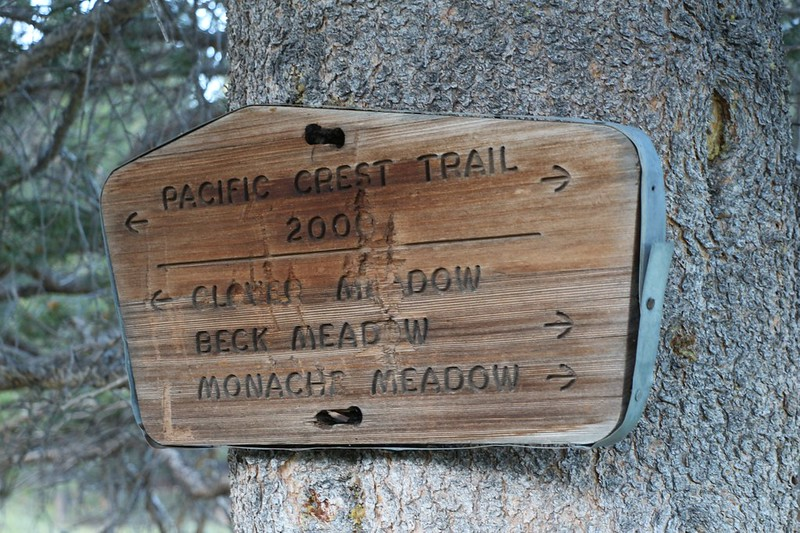 Pacific Crest Trail Sign at the upper end of Beck Meadow - next stop Clover Meadow!