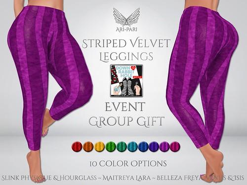 [Ari-Pari] Striped Velvet Leggings