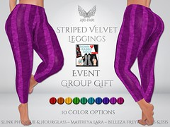 [Ari-Pari] Striped Velvet Leggings