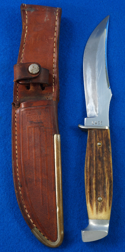 RD30609 Vintage CASE Hunting Knife Stag Handle in Leather & Brass Sheath DSC09069
