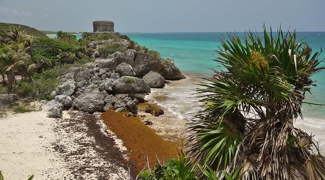 MEXICO, Yucatan, historische Mayastätte Tulum direkt an der Karibikküste , der Riviera Maya,  Karibik, 19886