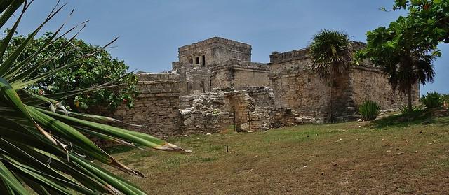 MEXICO, Yucatan, historische Mayastätte Tulum direkt an der Karibikküste , der Riviera Maya,  El Castillo, 19884