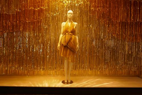 Gold plissé dress
