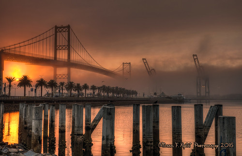 vincentthomasbridge sanpedro california southerncalifornia bridge fog sunrise