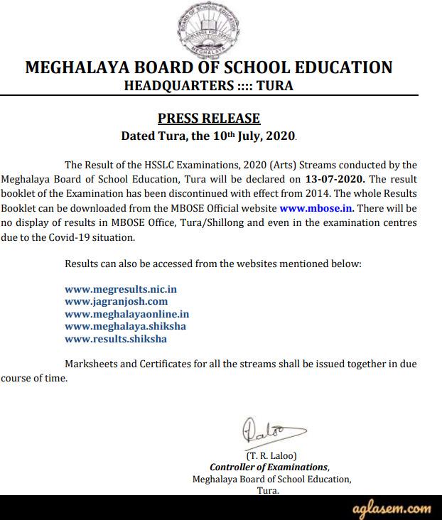 Meghalaya Board HSSLC (12th) Result 2020 | MBOSE Class 12 Marksheet (3 Aug)