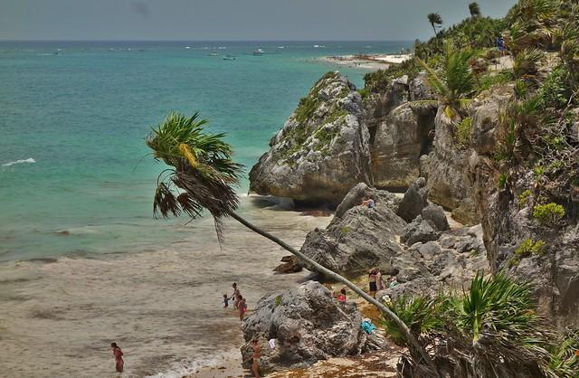 MEXICO, Yucatan, historische Mayastätte Tulum direkt an der Karibikküste , der Riviera Maya,  Karibik, 19887