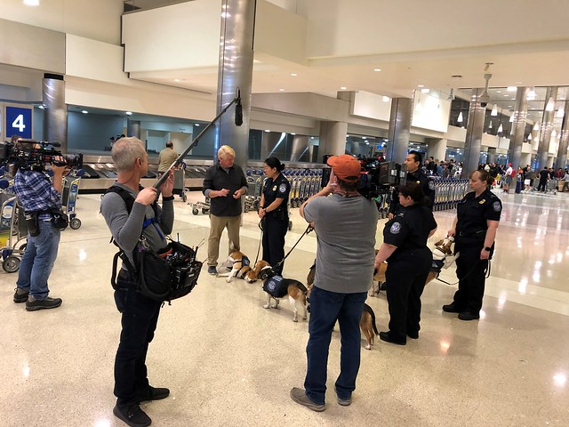 Bill Farmer with APHIS trained Beagle Brigade teams at airport