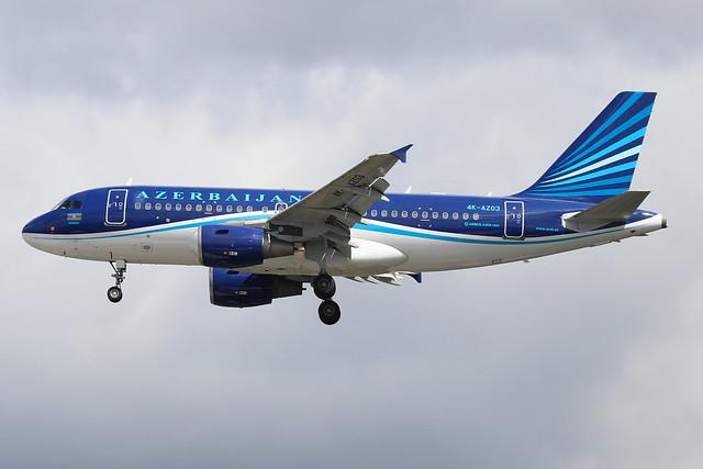 4K-AZ03  -  Airbus A319-111  -  Azerbaijan Airlines  -  LHR/EGLL 10/7/20