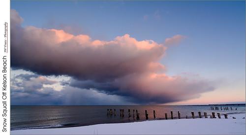 grimsby winona hamilton kelsonbeach fiftypoint beach groyne clouds snowsquall winter ice lakeontario water shoreline sunset opensource rawtherapee gimp nikon d7100 nikkor1224mm