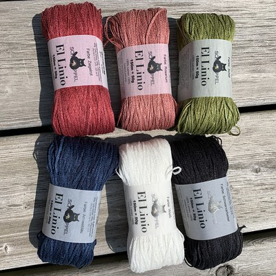 Shipment of Schoppel Wolle El Linio in these colours! Limited quantities in other colours too! 164 yards of 100% Linen per 50g.