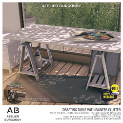 Atelier Burgundy . Drafting Table (wood and white options available)