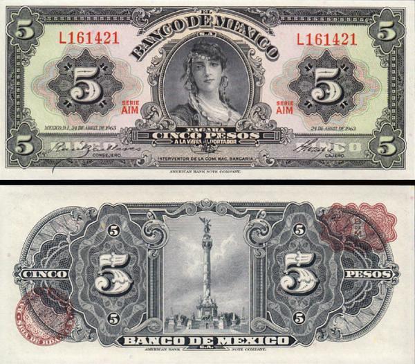 5 Pesos Mexiko 1963, P60h