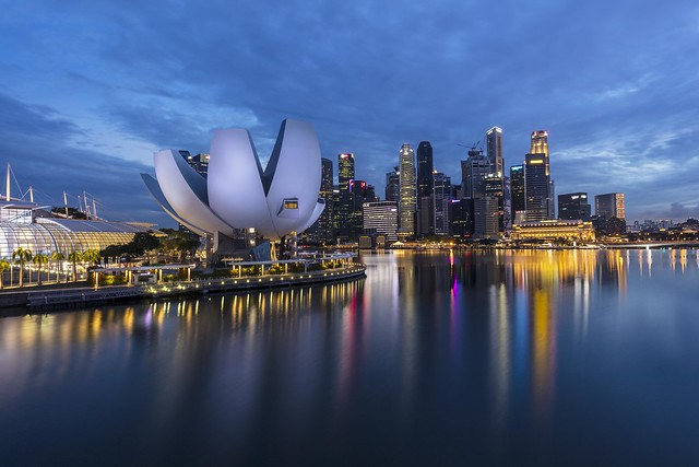 Blue Hour Reflections in Singapore Marina Bay