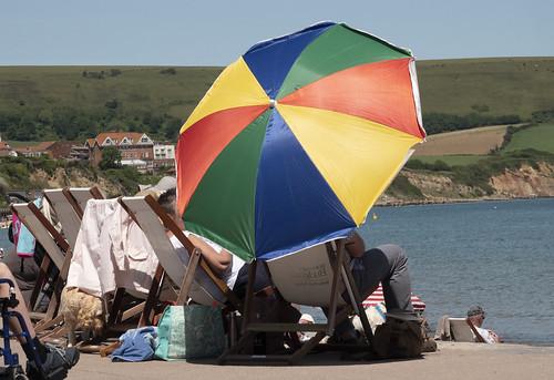 beach sea water umbrella colours outdoors