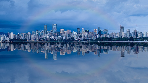 vancouver skyline panorama pano storm reflections clouds wideangle buildings downtown britishcolumbia canada tourism summer bluehour sonya7iii sigma