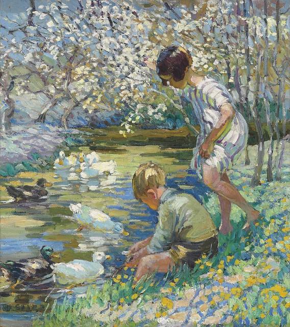 Dorothea Sharp - Children Playing Beside a Stream