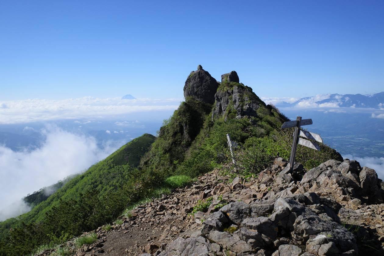 権現岳山頂と富士山
