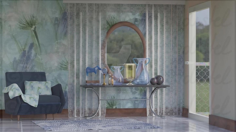 Interior Scene 3 in blue style