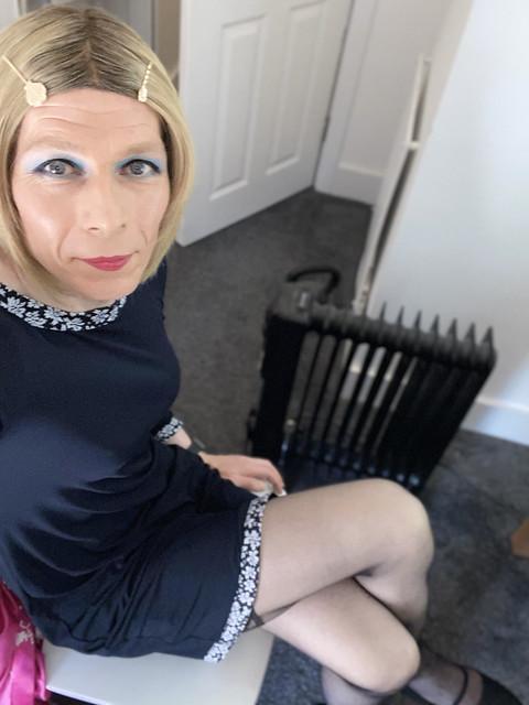 Micheal Kors blue daisy dress, Falke black 15d nylon stockings, Pleaser Mary Jane Pumps