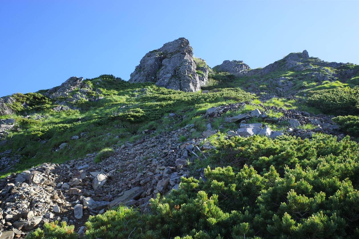 権現岳 ガレ場の登山道
