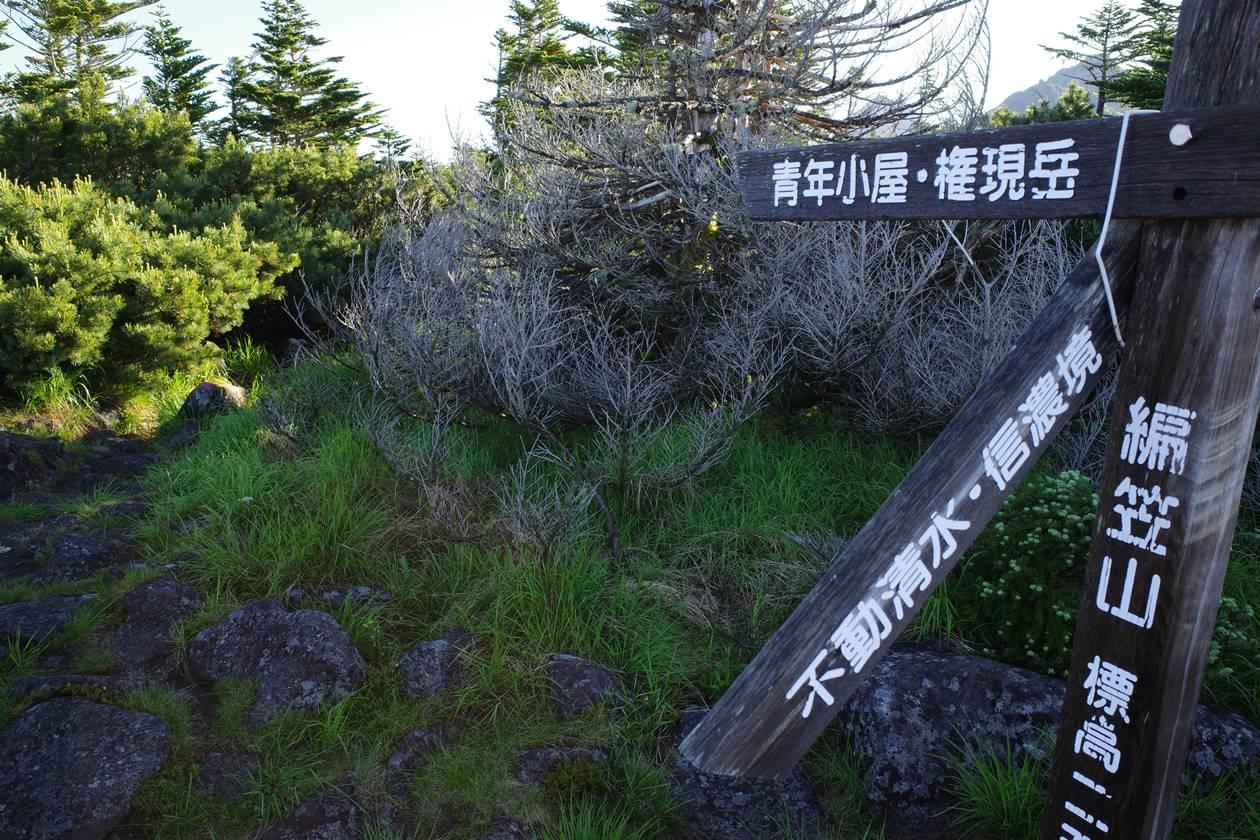 編笠山から青年小屋へ