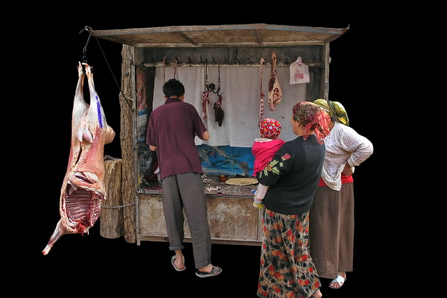 China - Kashgar - Streetlife - Butcher Shop - 73d