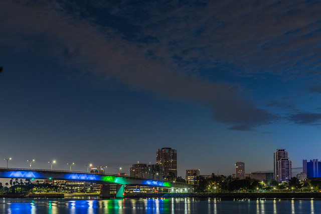 Queensway Bridge and Downtown Long Beach at Twilight