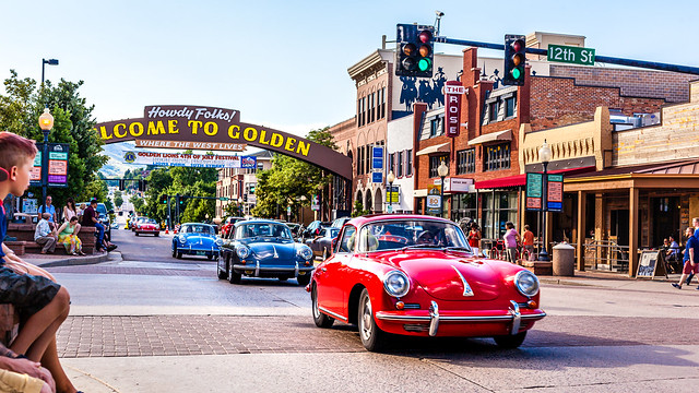 Classic Porsches In Downtown, Golden, CO
