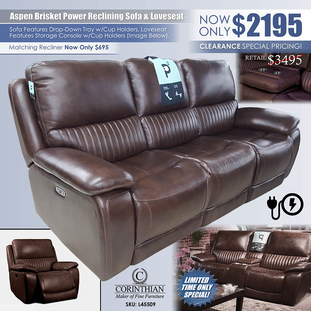 Aspen Brisket Power Sofa & Loveseat by Corinthian L4550