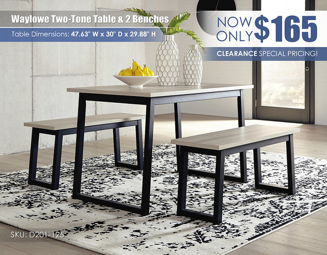 Waylowe Two-Tone Table & 2 Benches_D201-125