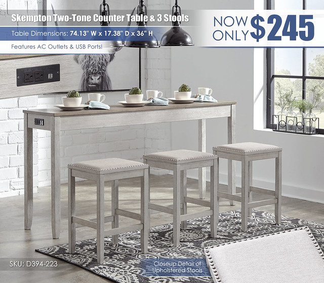 Skempton Two Tone Counter Table Set & 3 Stools_D394-223