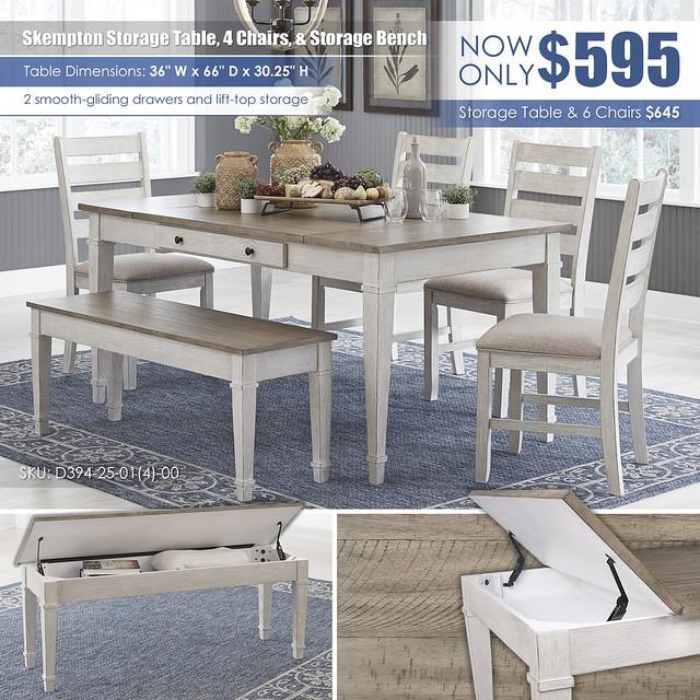 Skepmton Storage Table 4 Chairs & Storage Bench_D394-25-01(4)-00