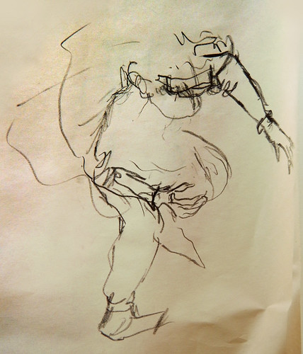 Charcoal life drawing of 'Spring' tumbling in slow motion
